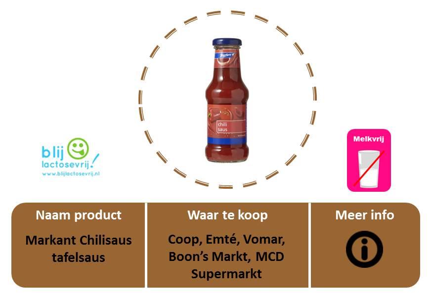 Markant lactosevrije en melkvrije chilisaus tafelsaus