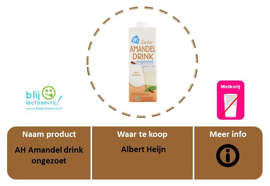 AH lactosevrije en melkvrije amandelmelk ongezoet