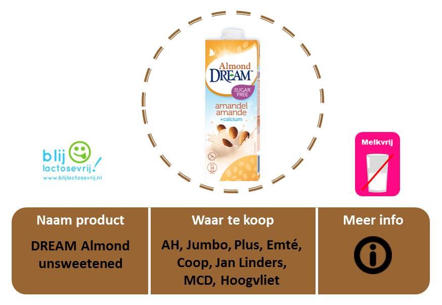 Dream lactosevrije en melkvrije amandelmelk ongezoet
