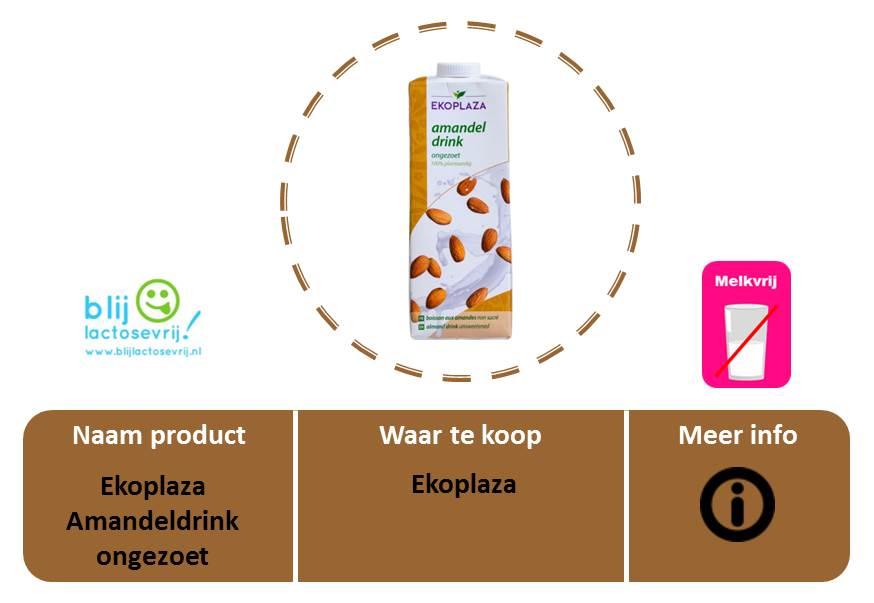 Ekoplaza lactosevrije en melkvrije amandelmelk ongezoet