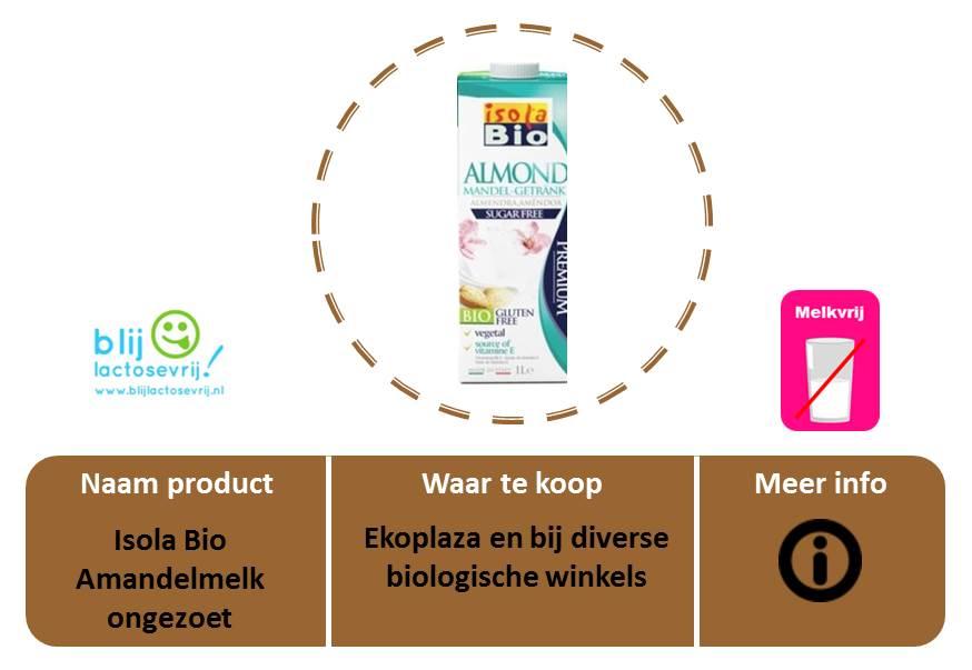 Isola Bio lactosevrije en melkvrije amandelmelk ongezoet