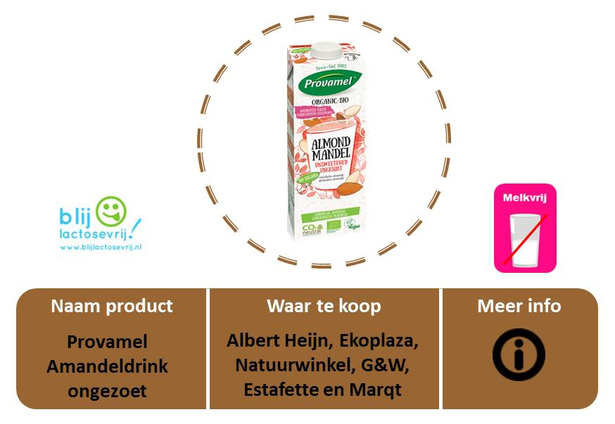 Provamel lactosevrije en melkvrije amandelmelk ongezoet