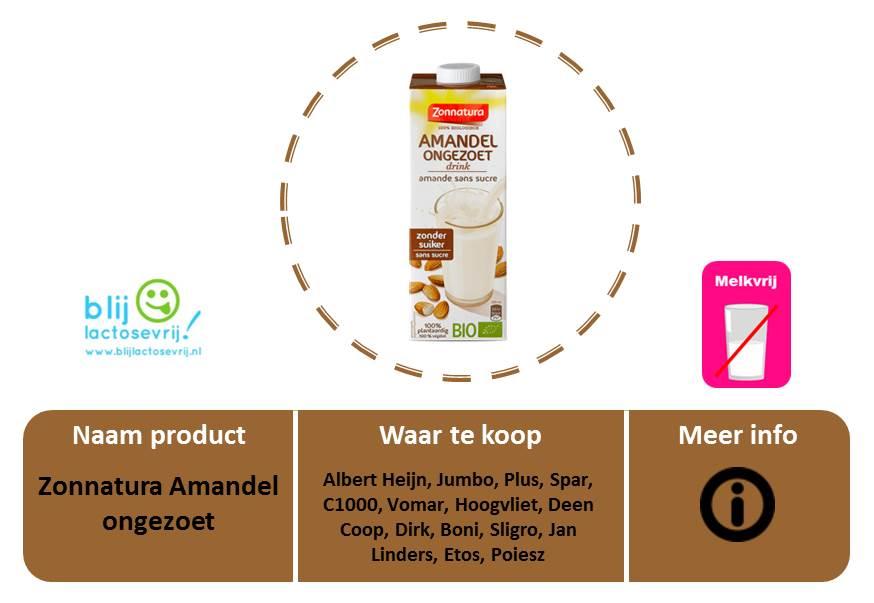 Zonnatura lactosevrije en melkvrije amandelmelk ongezoet