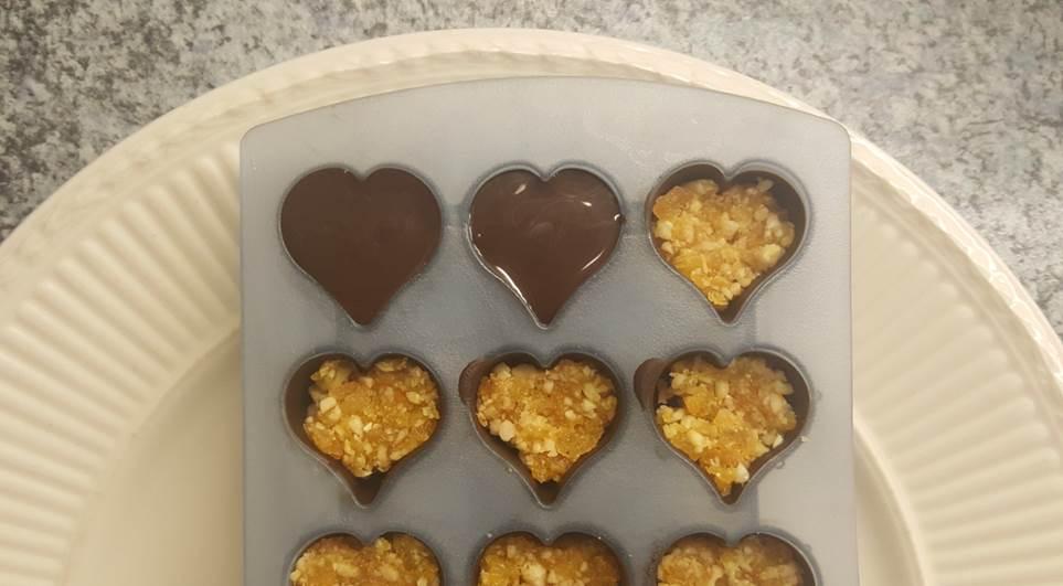 Lactosevrije chocoladehartjes met abrikozenvulling lactosevrij