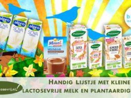 kleine pakjes lactosevrije melk en plantaardige melk