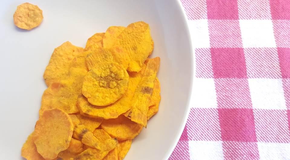 Lactosevrije glutenvrije zoete aardappelchips