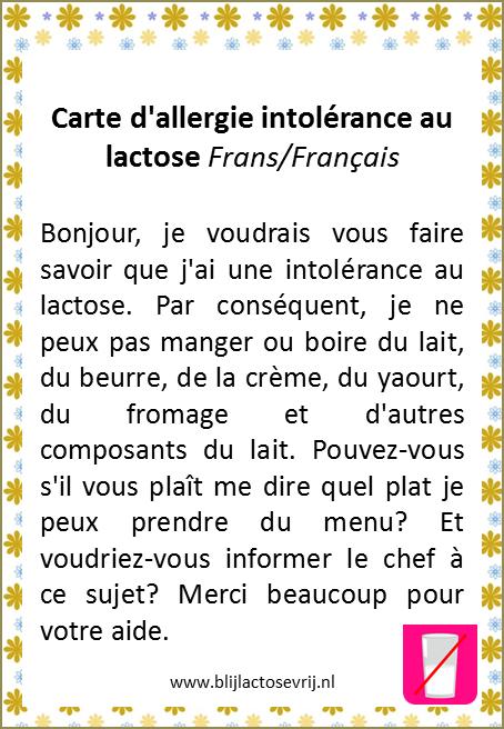 allergenenkaart frans lactose intolerantie vertaling allergie