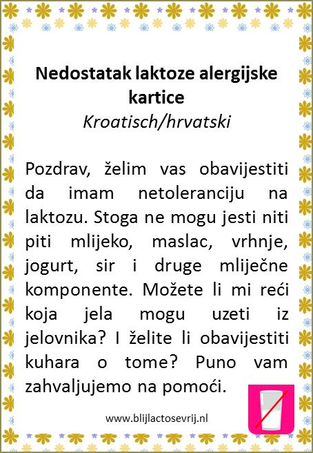 allergenenkaart kroatisch lactose intolerantie vertaling allergie kaartje