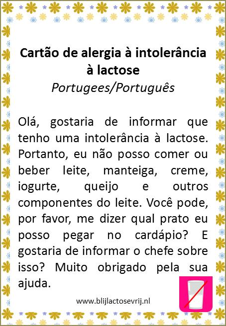 allergenenkaart portugees lactose intolerantie vertaling allergie kaartje