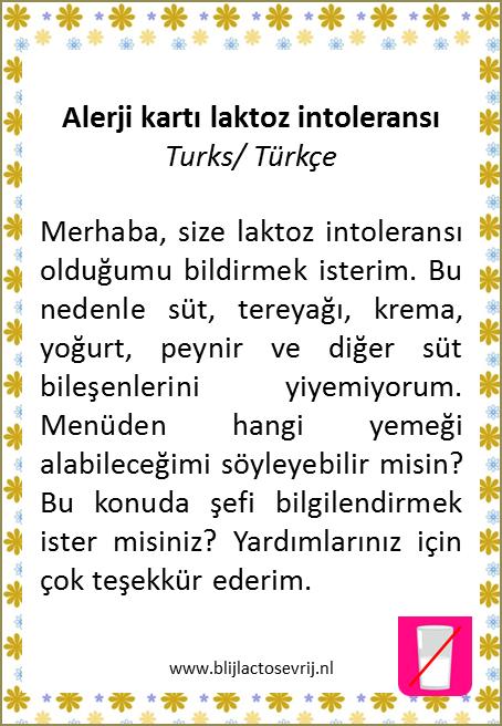 allergenenkaart turks lactose intolerantie vertaling allergie kaartje