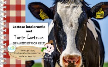lactose intolerantie met tante lactruus, benamingen voor melk gratis boekje